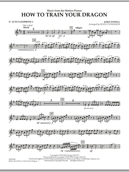 Sean O'Loughlin Music from How To Train Your Dragon - Eb Alto Saxophone 2 sheet music notes and chords. Download Printable PDF.
