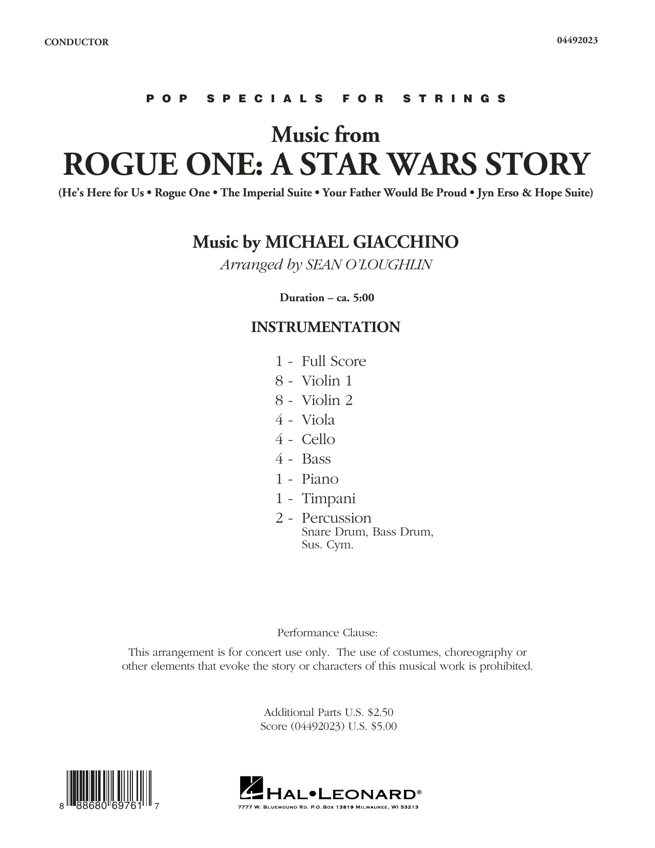 Sean O'Loughlin Music from Rogue One: A Star Wars Story - Conductor Score (Full Score) sheet music notes and chords. Download Printable PDF.