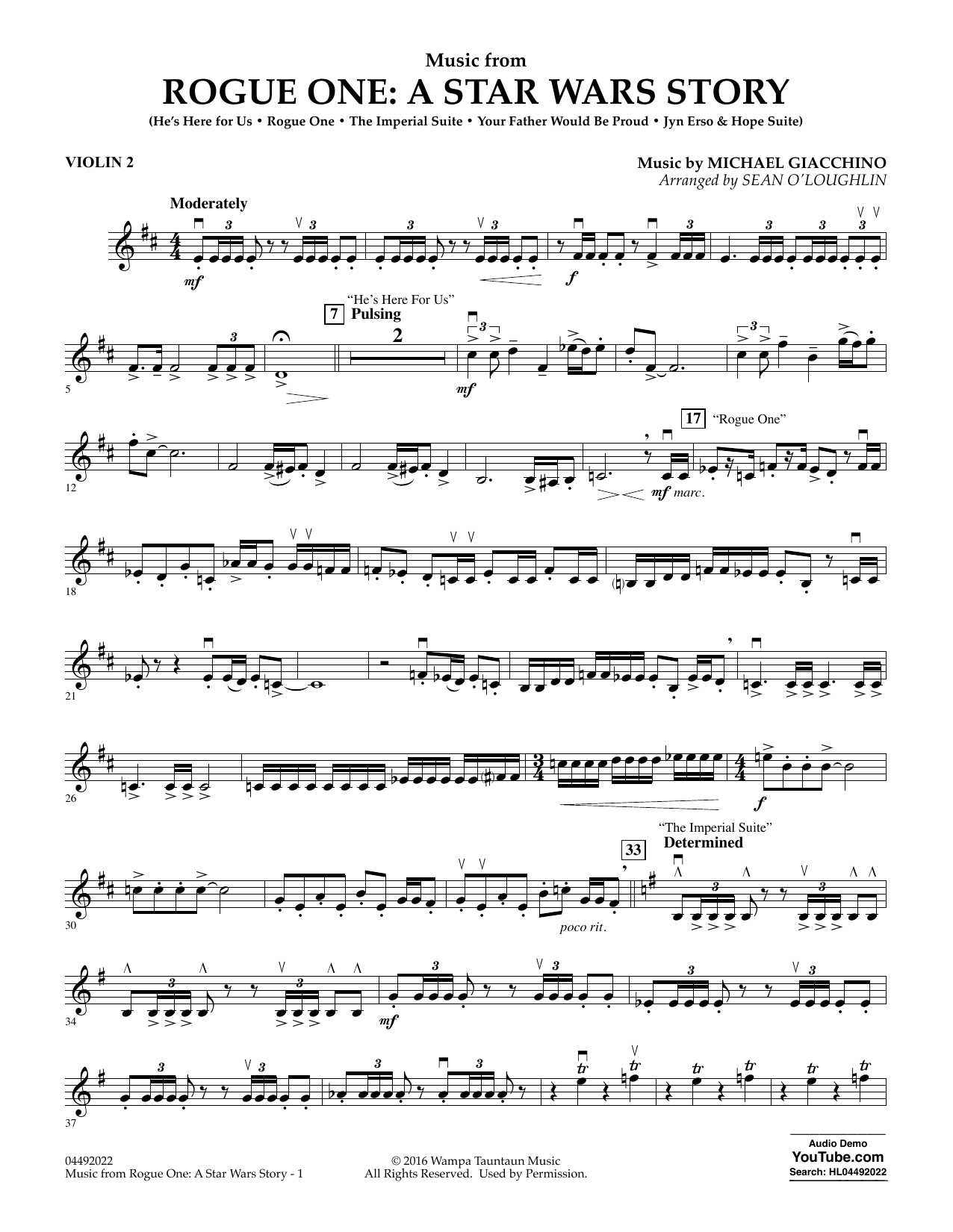 Sean O'Loughlin Music from Rogue One: A Star Wars Story - Violin 2 sheet music notes and chords. Download Printable PDF.