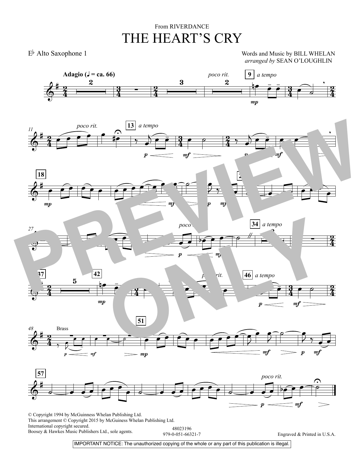 Sean O'Loughlin The Heart's Cry (from Riverdance) - Eb Alto Saxophone 1 sheet music notes and chords. Download Printable PDF.