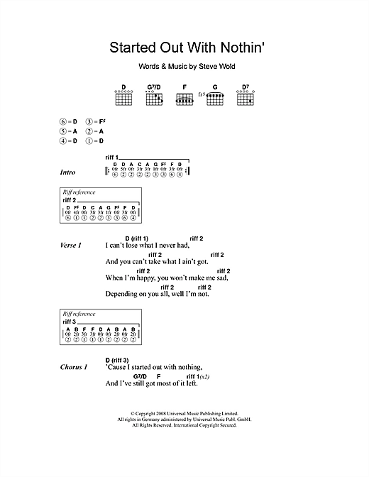 Seasick Steve Started Out With Nothin' sheet music notes and chords. Download Printable PDF.