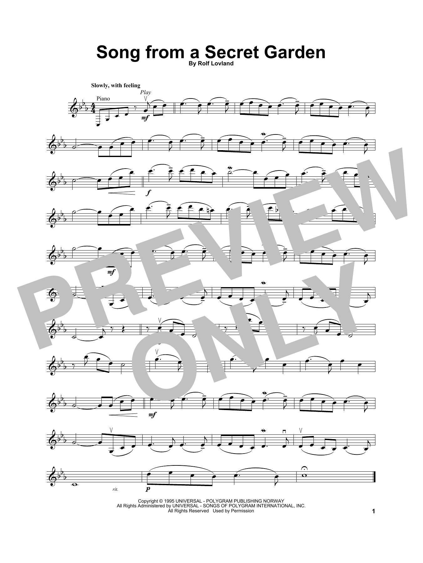 Secret Garden 'Song From A Secret Garden' Sheet Music Notes, Chords    Download Printable Violin Solo - SKU: 252120