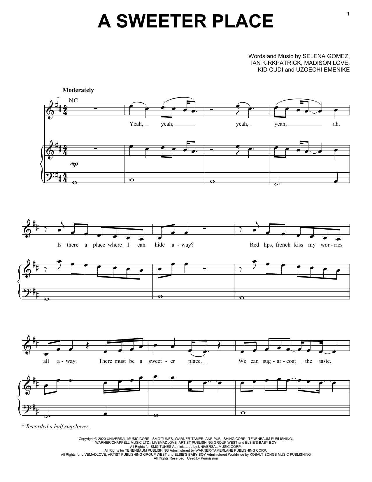 Selena Gomez ft. Kid Cudi A Sweeter Place sheet music notes and chords. Download Printable PDF.