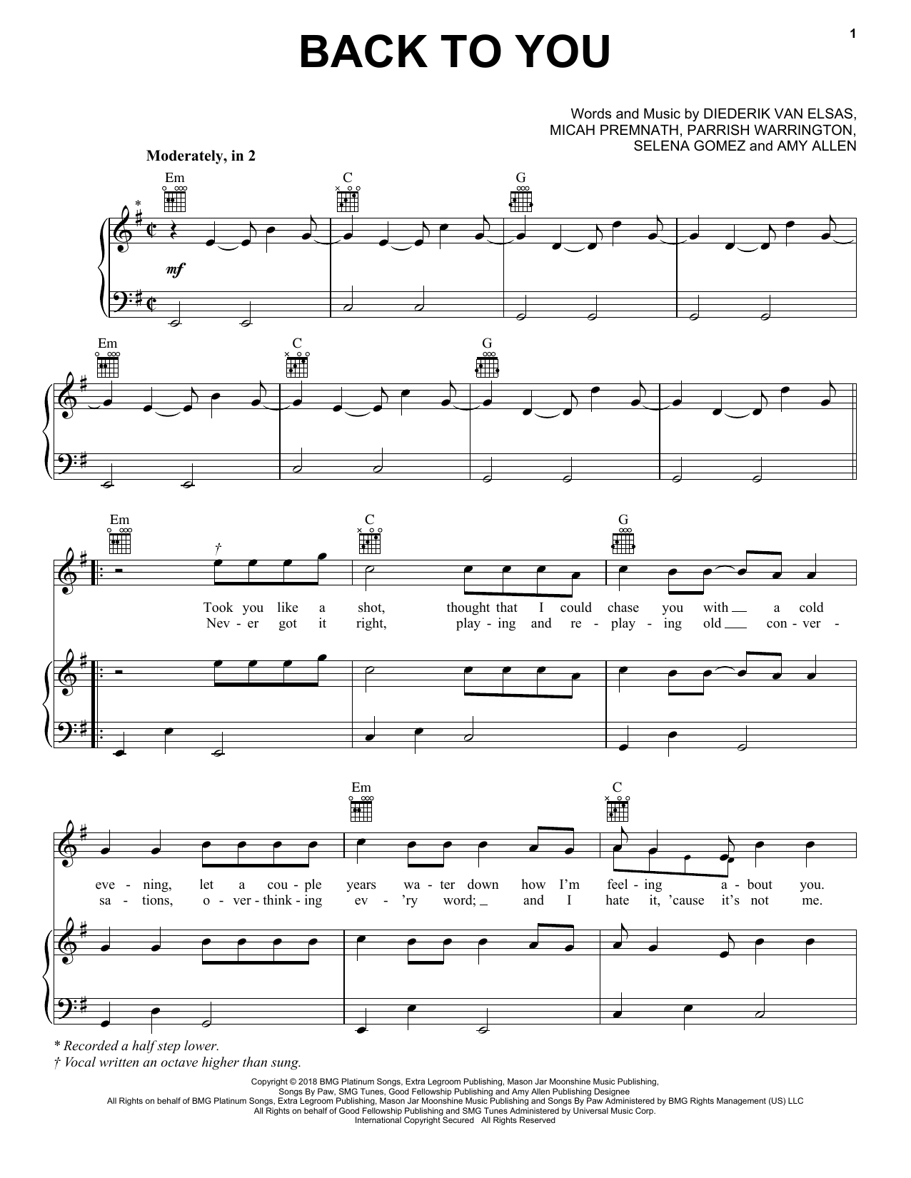 Selena Gomez Back To You (from 13 Reasons Why) sheet music notes and chords. Download Printable PDF.
