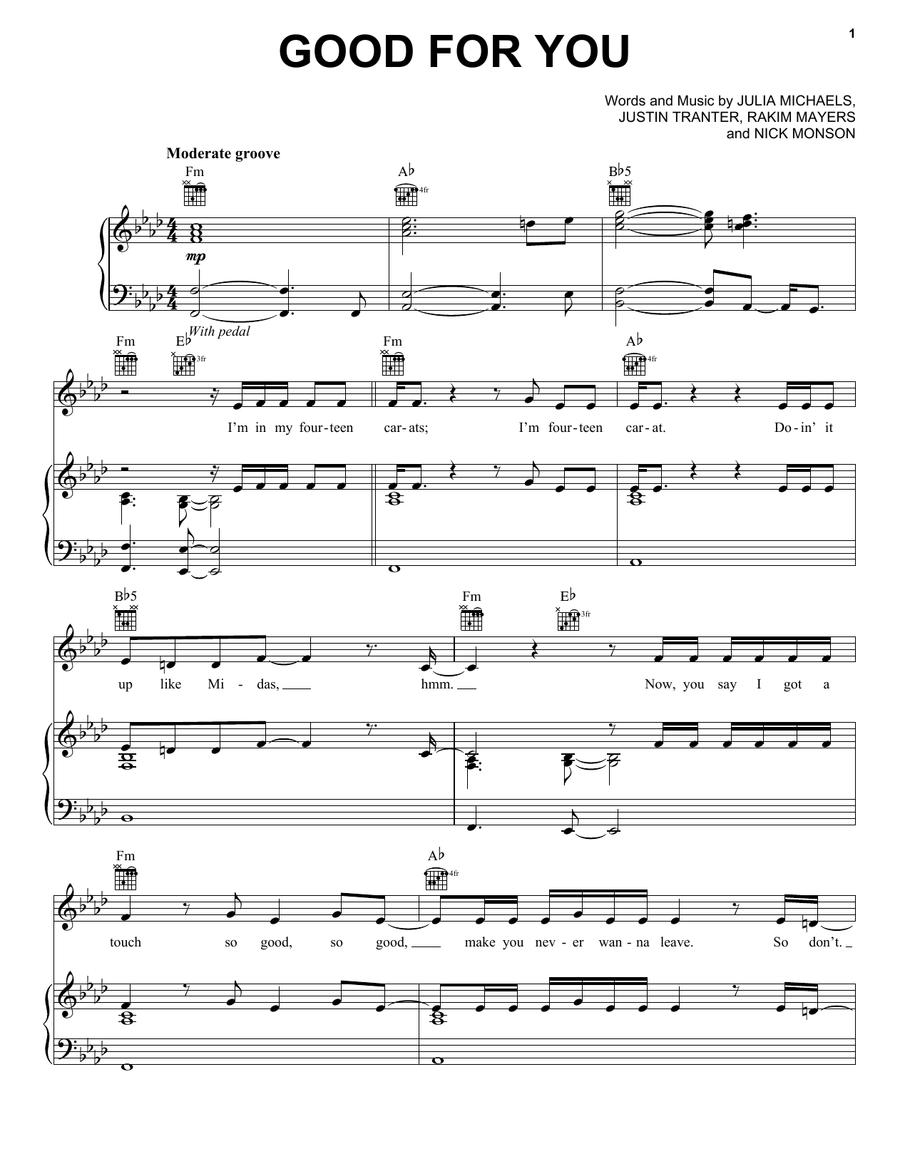 Selena Gomez Good For You sheet music notes and chords