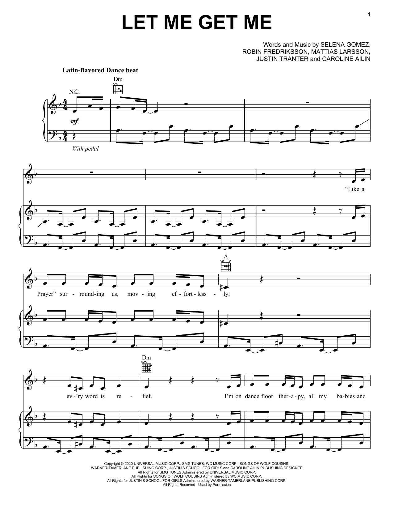 Selena Gomez Let Me Get Me sheet music notes and chords. Download Printable PDF.