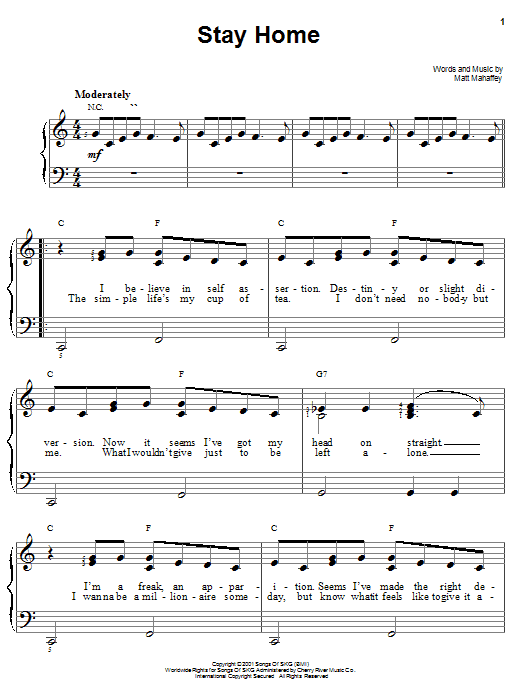 Self Stay Home sheet music notes and chords. Download Printable PDF.