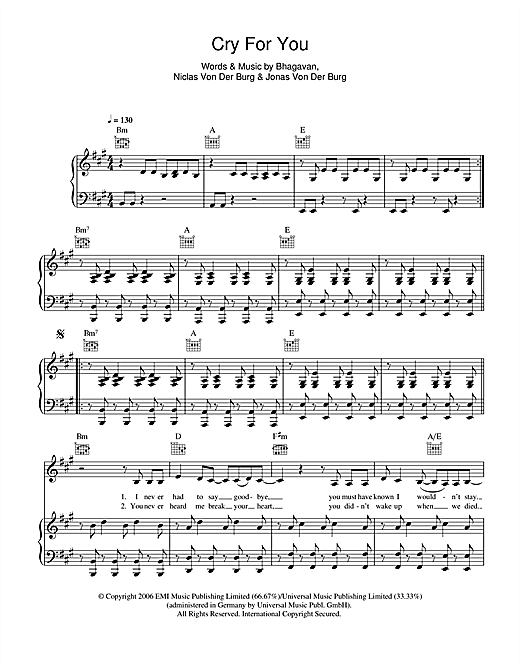 September Cry For You sheet music notes and chords