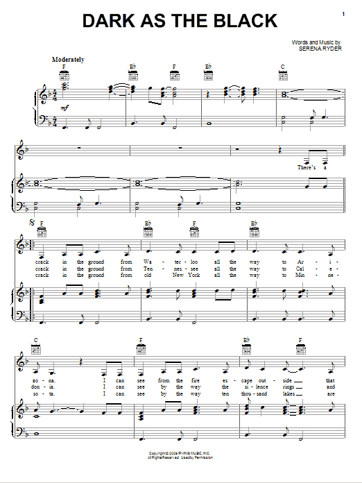 Serena Ryder Dark As The Black sheet music notes and chords. Download Printable PDF.