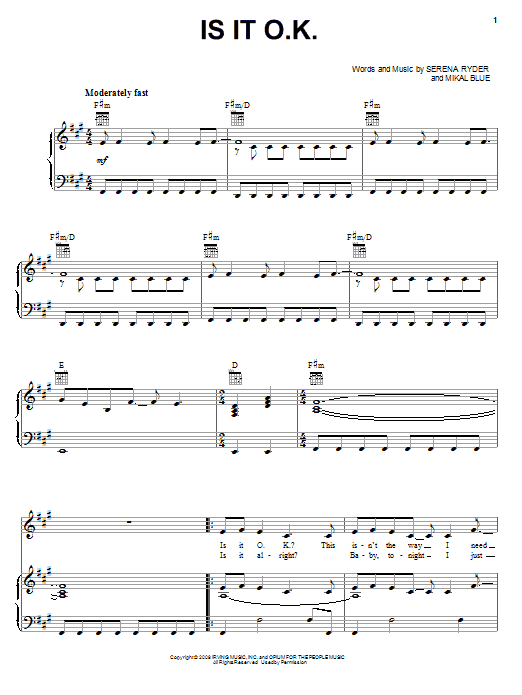 Serena Ryder Is It O.K. sheet music notes and chords. Download Printable PDF.
