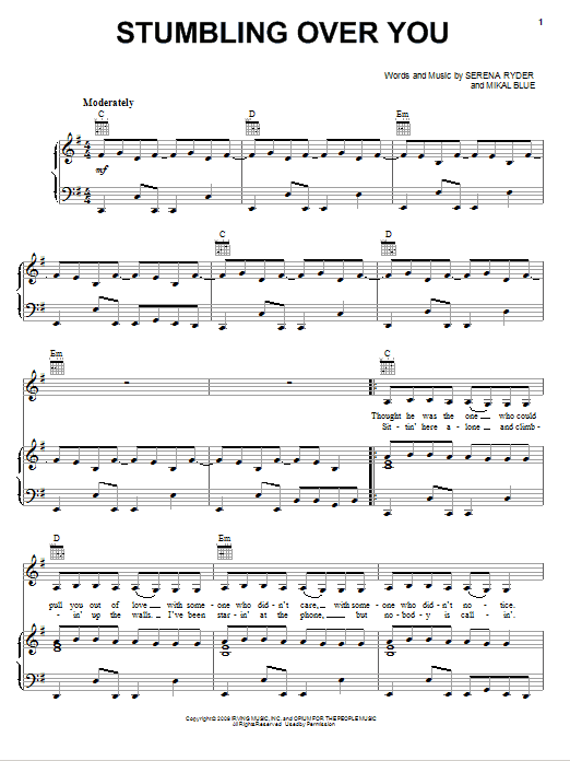 Serena Ryder Stumbling Over You sheet music notes and chords. Download Printable PDF.