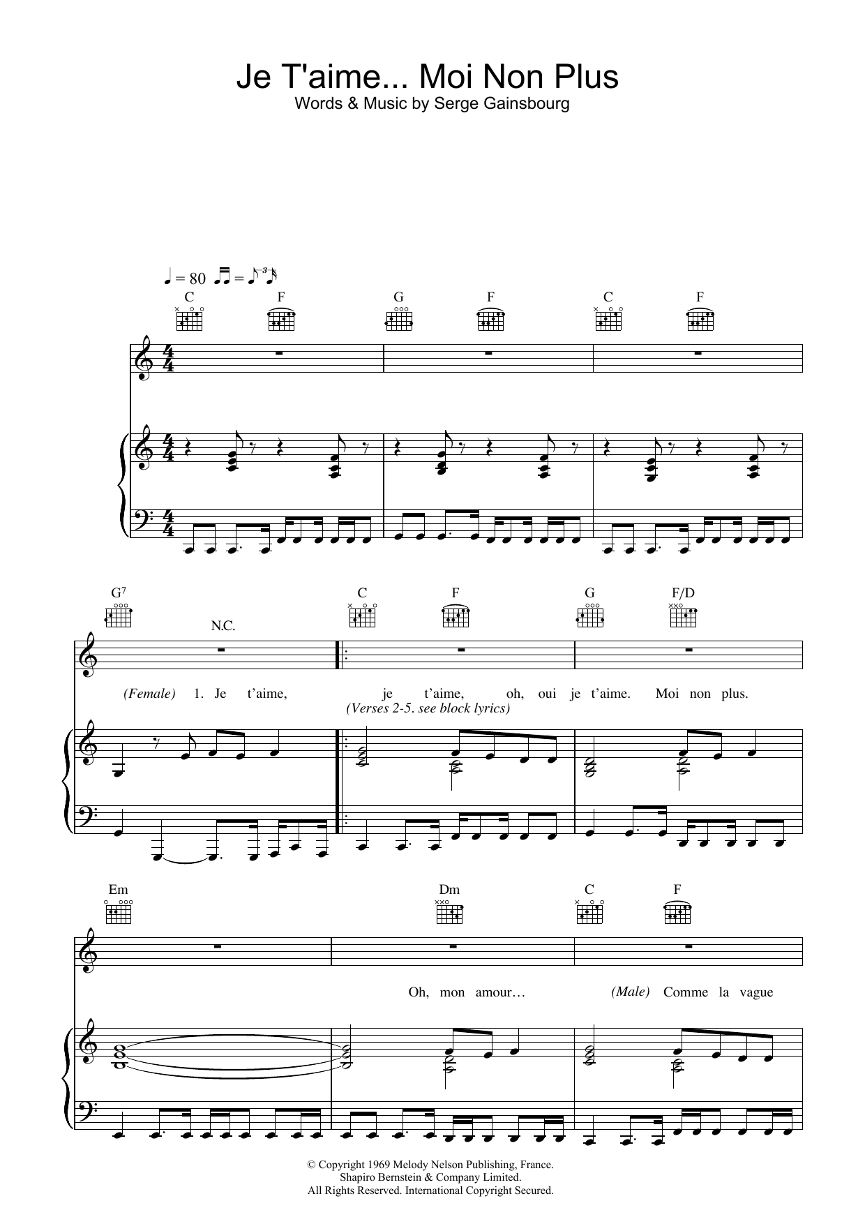 Jane Birkin & Serge Gainsbourg Je t'aime... moi non plus sheet music notes and chords. Download Printable PDF.