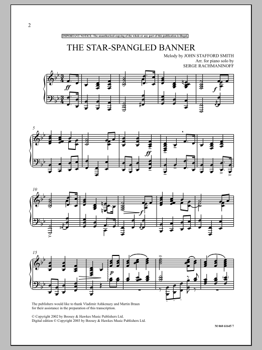 Serge Rachmaninoff The Star Spangled Banner Sheet Music Pdf Notes Chords Patriotic Score Piano Solo Download Printable Sku 91040