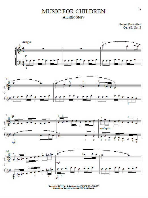 Sergei Prokofiev A Little Story sheet music notes and chords. Download Printable PDF.