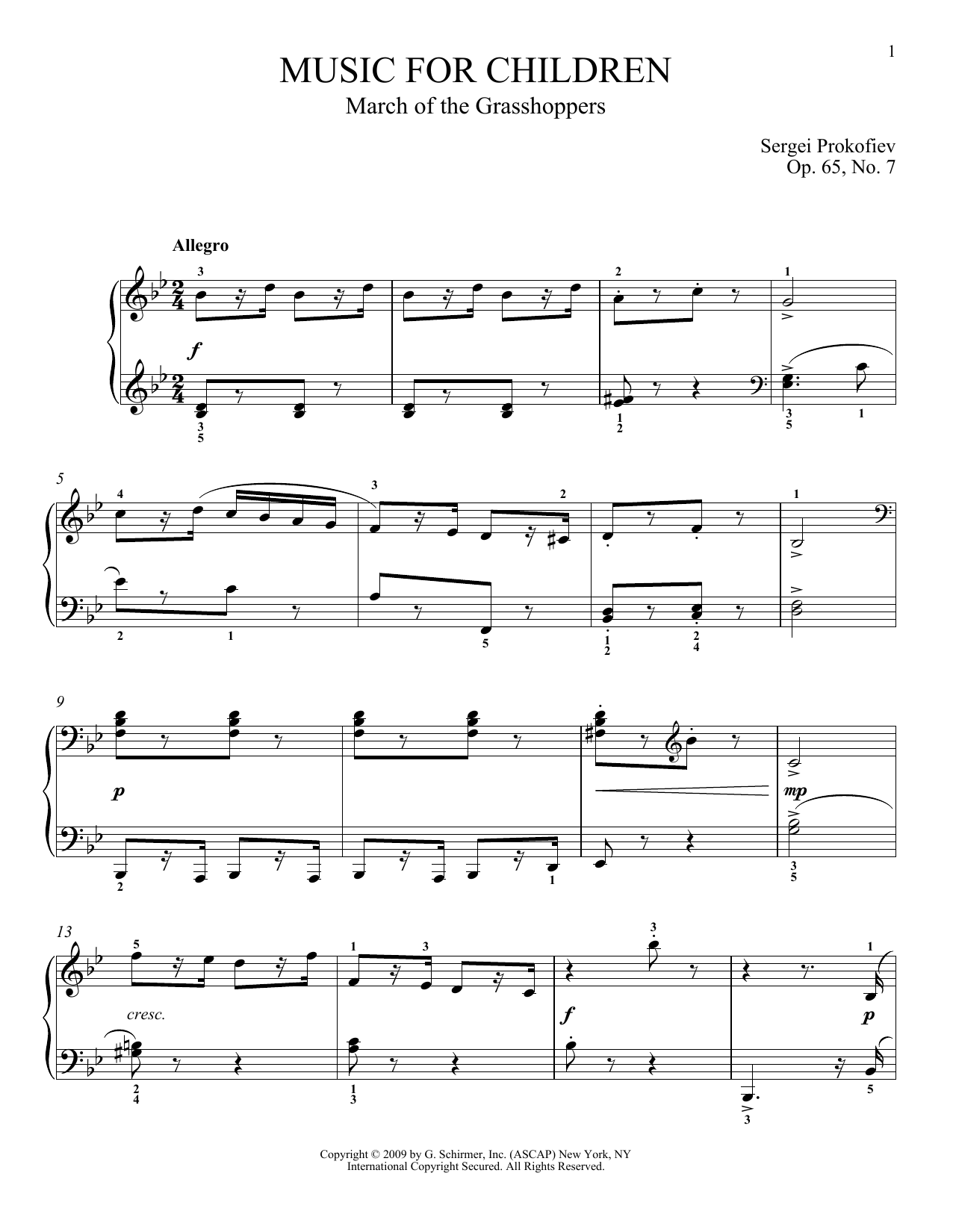 Sergei Prokofiev March Of The Grasshoppers sheet music notes and chords
