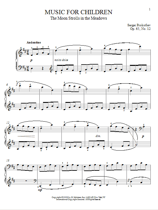 Sergei Prokofiev The Moon Strolls In The Meadows sheet music notes and chords. Download Printable PDF.