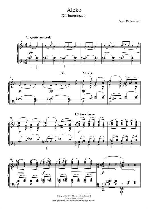 Sergei Rachmaninoff Aleko - No.11 Intermezzo sheet music notes and chords