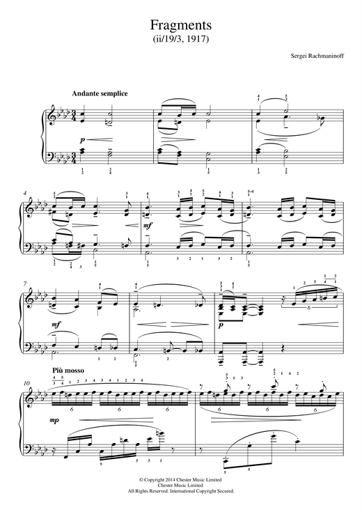 Sergei Rachmaninoff Fragments (1917) sheet music notes and chords. Download Printable PDF.