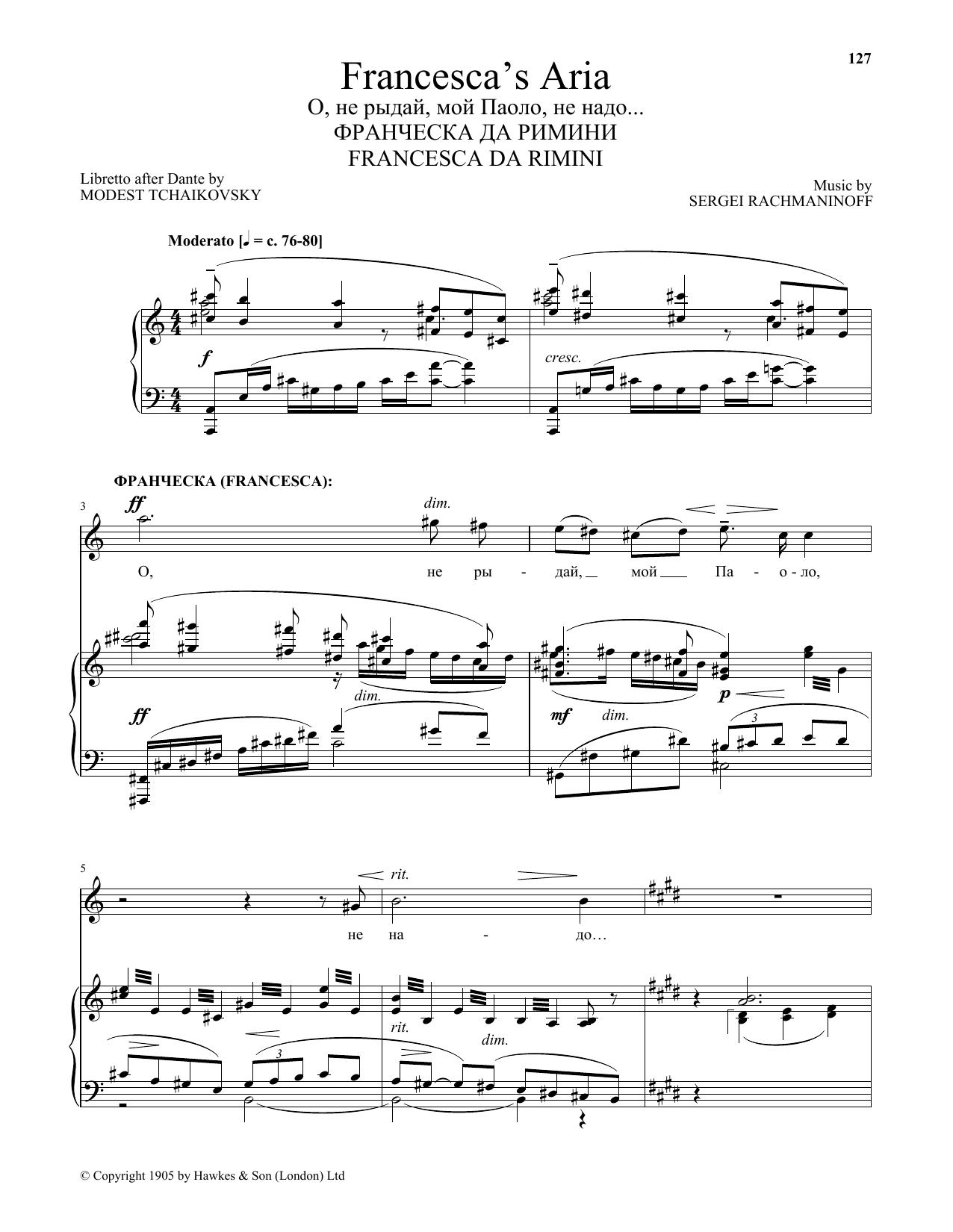 Sergei Rachmaninoff Francesca's Aria (from Francesca da Rimini) sheet music notes and chords. Download Printable PDF.