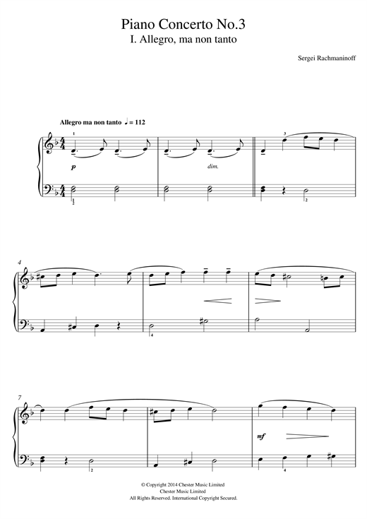 Sergei Rachmaninoff Piano Concerto No.3 - 1st Movement sheet music notes and chords. Download Printable PDF.