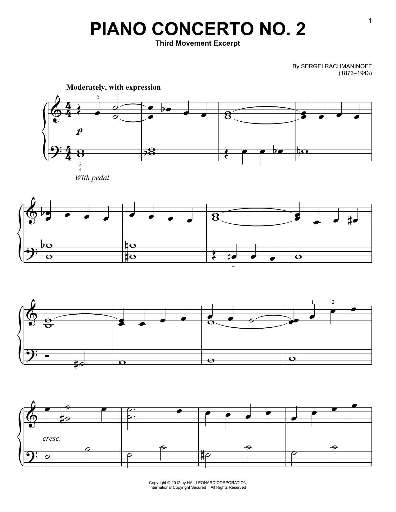 Sergei Rachmaninoff Piano Concerto No. 2, Third Movement Excerpt sheet music notes and chords