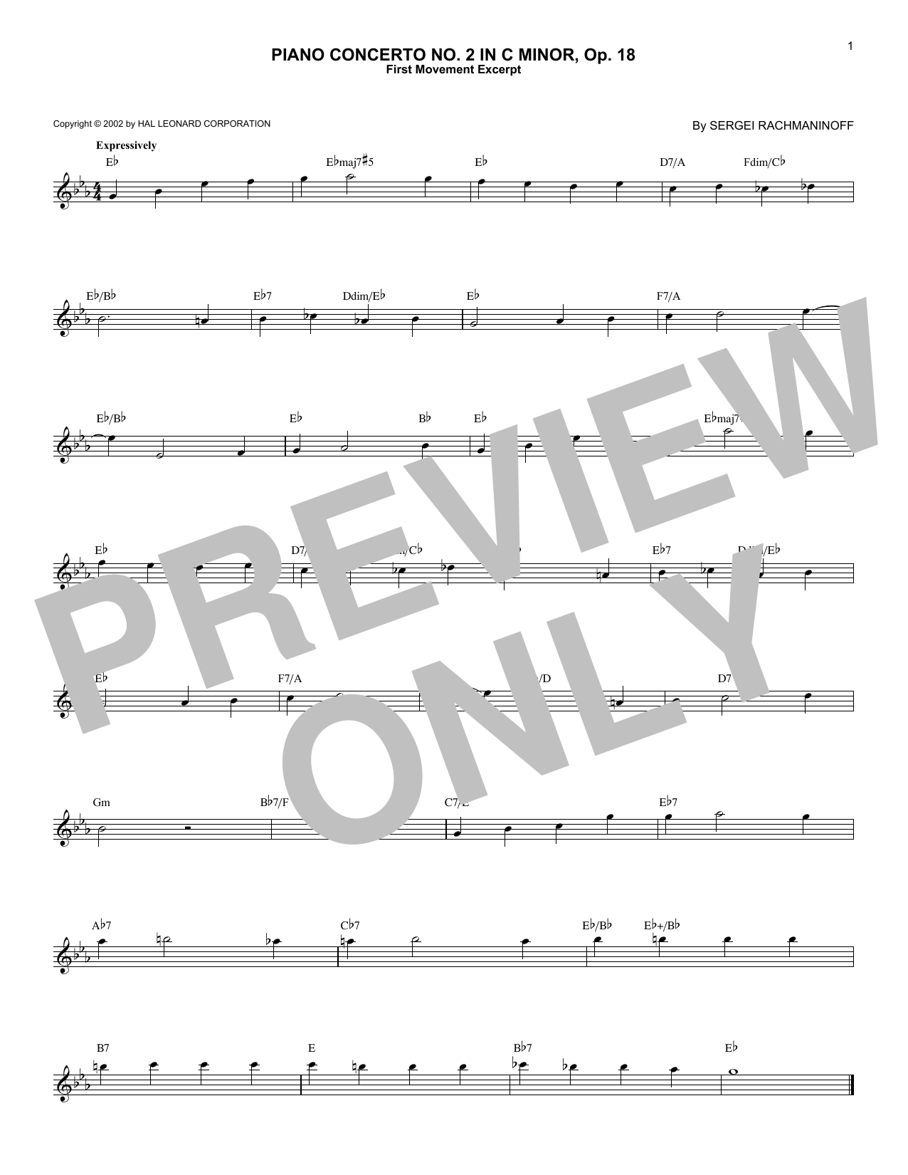 Sergei Rachmaninoff Piano Concerto No. 2 In C Minor, Op. 18 sheet music notes and chords
