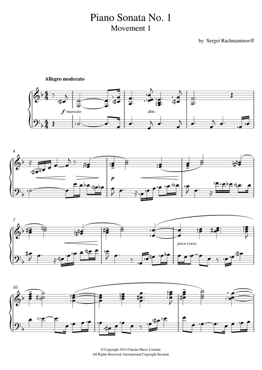 Sergei Rachmaninoff Piano Sonata No.1 (1st Movement) sheet music notes and chords