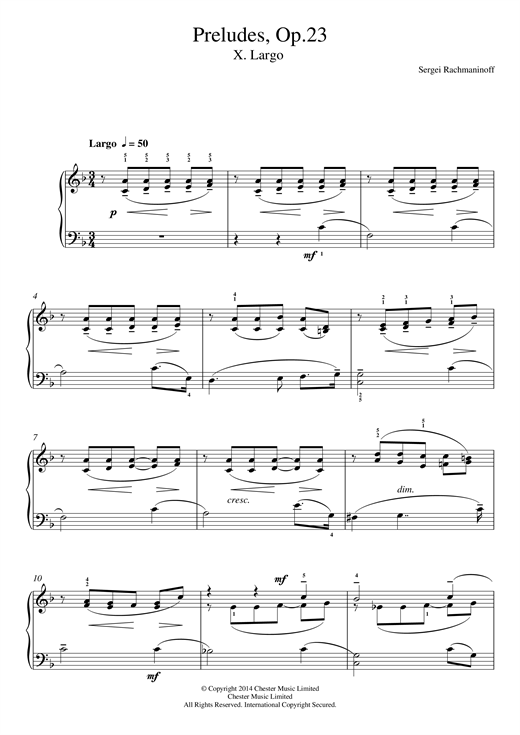 Sergei Rachmaninoff Preludes Op.23, No.10 Largo sheet music notes and chords. Download Printable PDF.