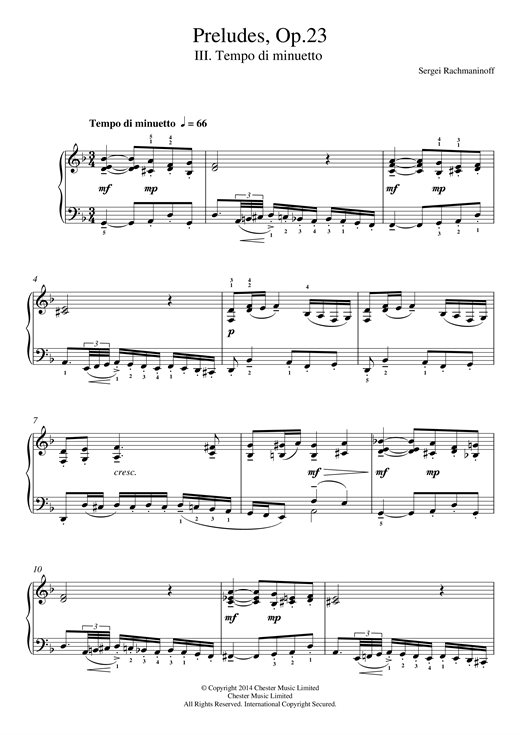 Sergei Rachmaninoff Preludes Op.23, No.3 Tempo di minuetto sheet music notes and chords. Download Printable PDF.
