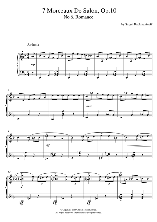 Sergei Rachmaninoff Romance (No.6 From 7 Morceaux De Salon, Op.10) sheet music notes and chords. Download Printable PDF.