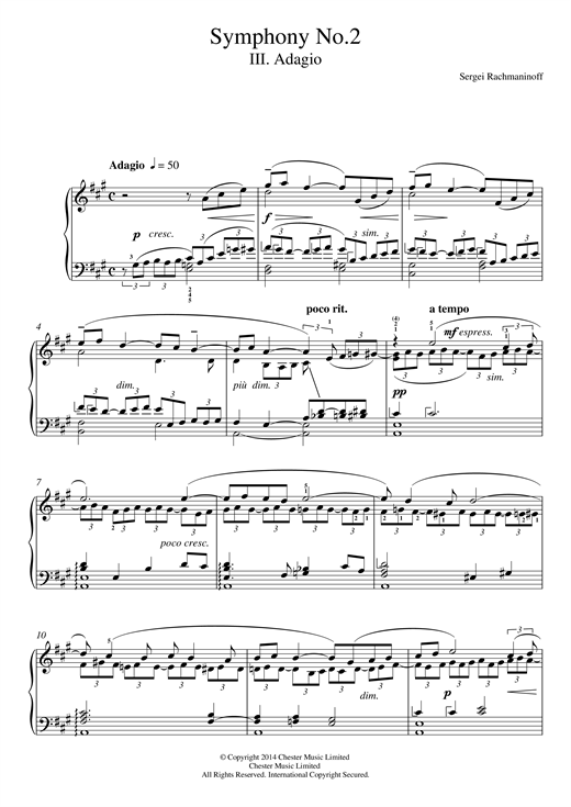 Sergei Rachmaninoff Symphony No.2 - 3rd Movement sheet music notes and chords