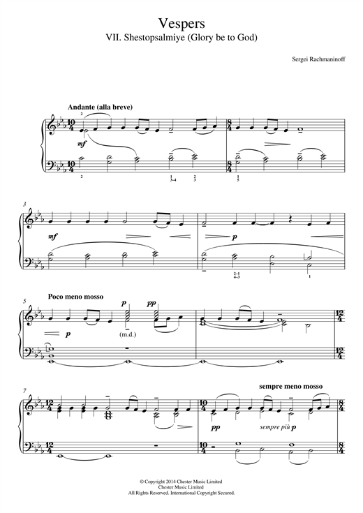 Sergei Rachmaninoff Vespers (All-Night Vigil) Op.37, No.7 Shestopsalmiye (Glory be to God) sheet music notes and chords. Download Printable PDF.