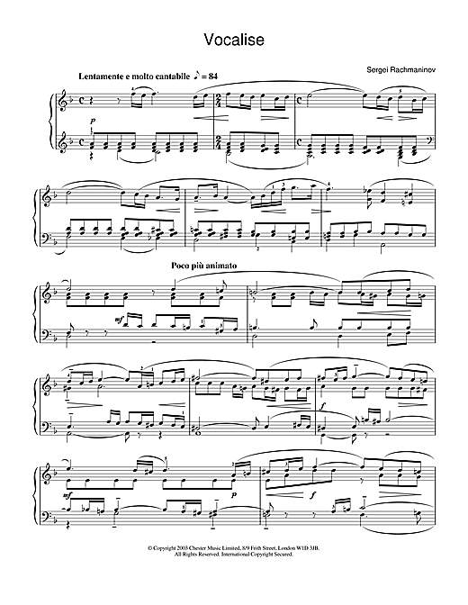 Sergei Rachmaninoff Vocalise sheet music notes and chords. Download Printable PDF.