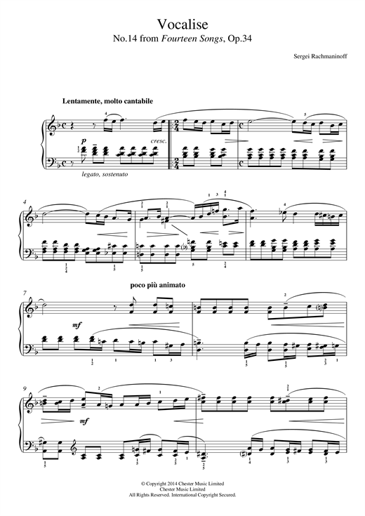 Sergei Rachmaninoff Vocalise (No.14 from Fourteen Songs, Op.34) sheet music notes and chords. Download Printable PDF.