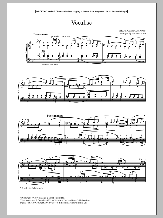 Sergei Rachmaninoff Vocalise, Op. 24, No. 14 sheet music notes and chords