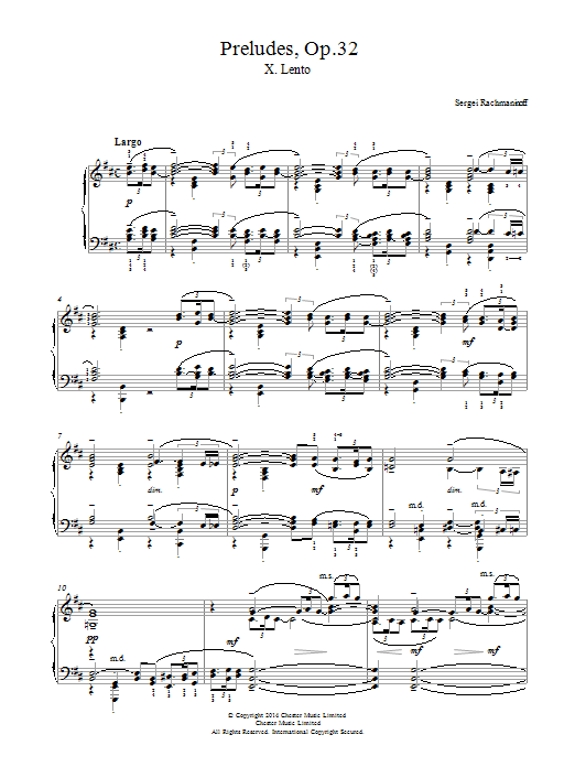 Sergei Rachmaninoff Preludes Op.32, No.10 Lento sheet music notes and chords. Download Printable PDF.