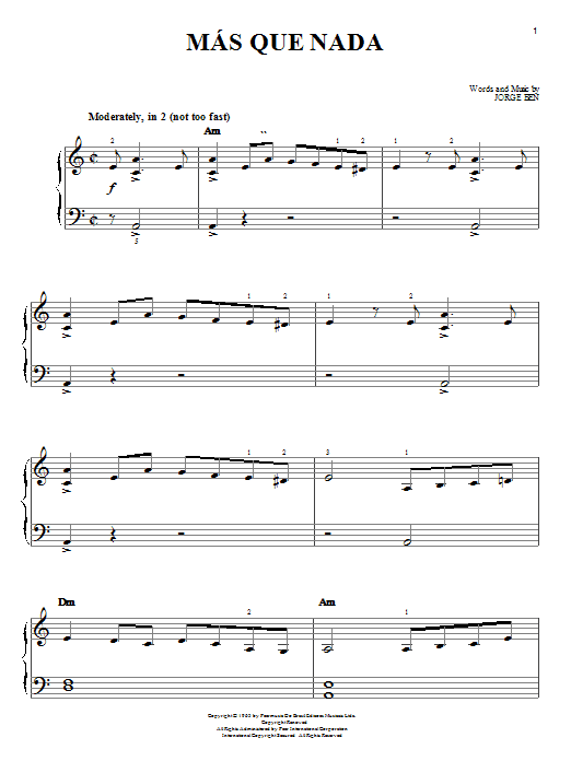 Sergio Mendes Mas Que Nada sheet music notes and chords. Download Printable PDF.