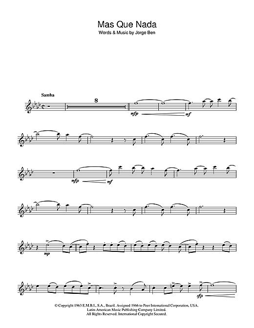 Sergio Mendes Mas Que Nada (Say No More) sheet music notes and chords. Download Printable PDF.