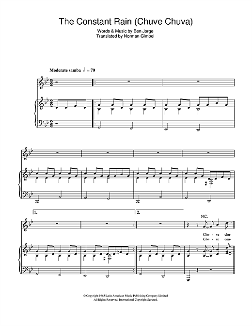 Sergio Mendes The Constant Rain (Chove Chuva) sheet music notes and chords. Download Printable PDF.