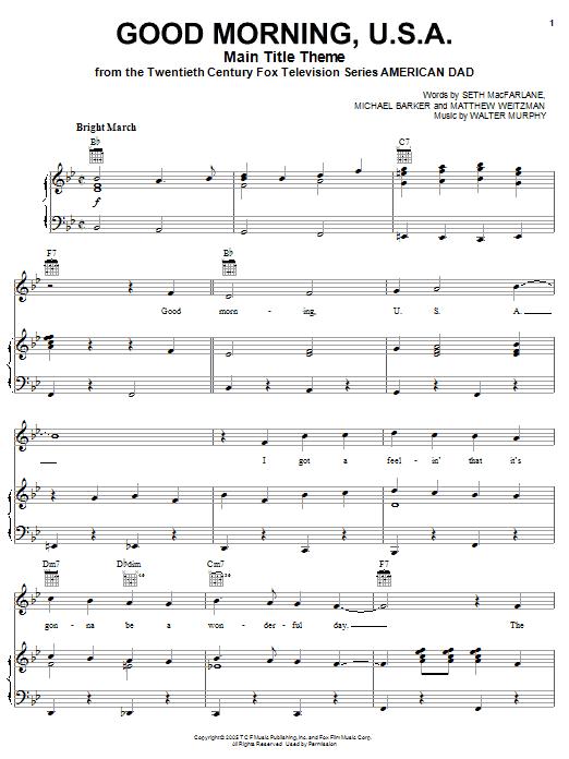 Seth MacFarlane 'American Dad - Main Title Theme (Good Morning U S A )'  Sheet Music Notes, Chords | Download Printable Piano, Vocal & Guitar