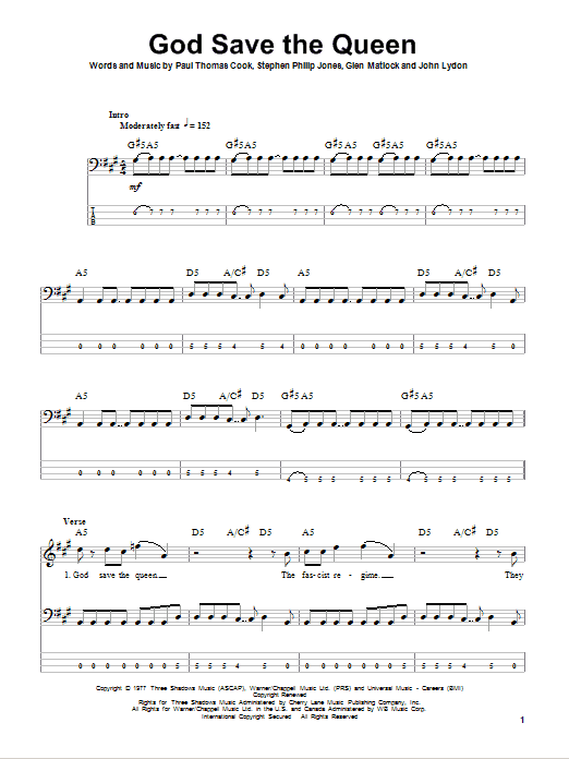 The Sex Pistols God Save The Queen sheet music notes and chords. Download Printable PDF.