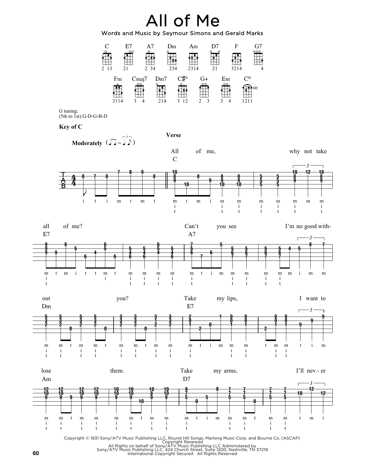 Seymour Simons All Of Me sheet music notes and chords