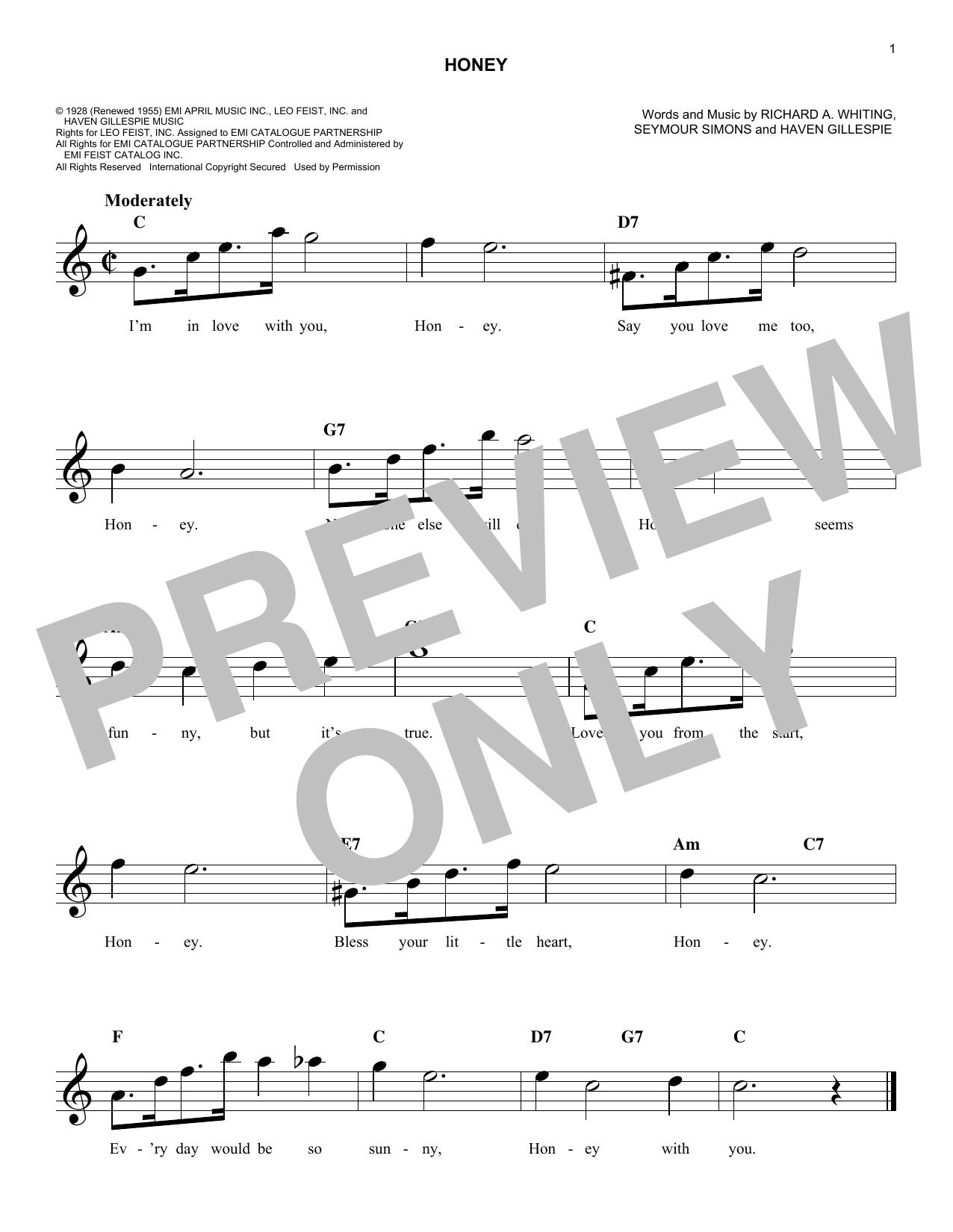 Seymour Simons Honey sheet music notes and chords. Download Printable PDF.