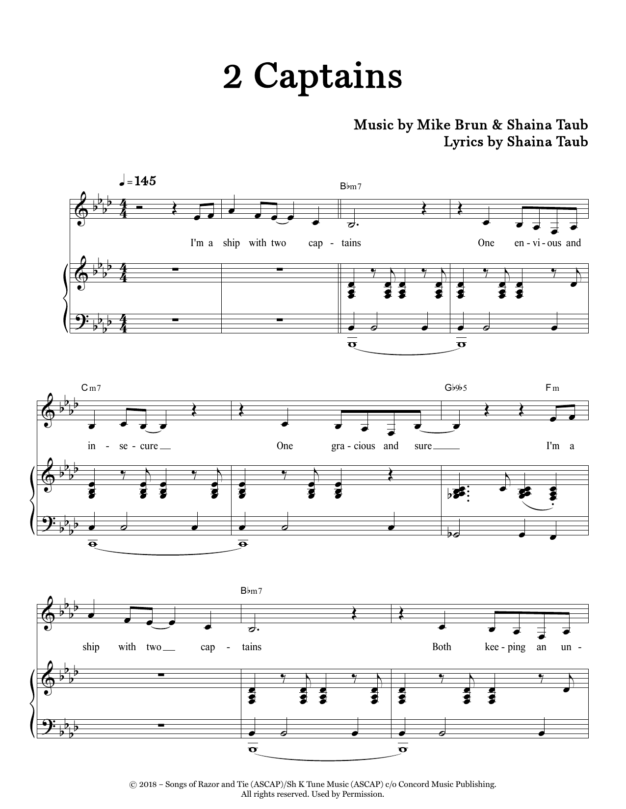 Shaina Taub 2 Captains sheet music notes and chords. Download Printable PDF.