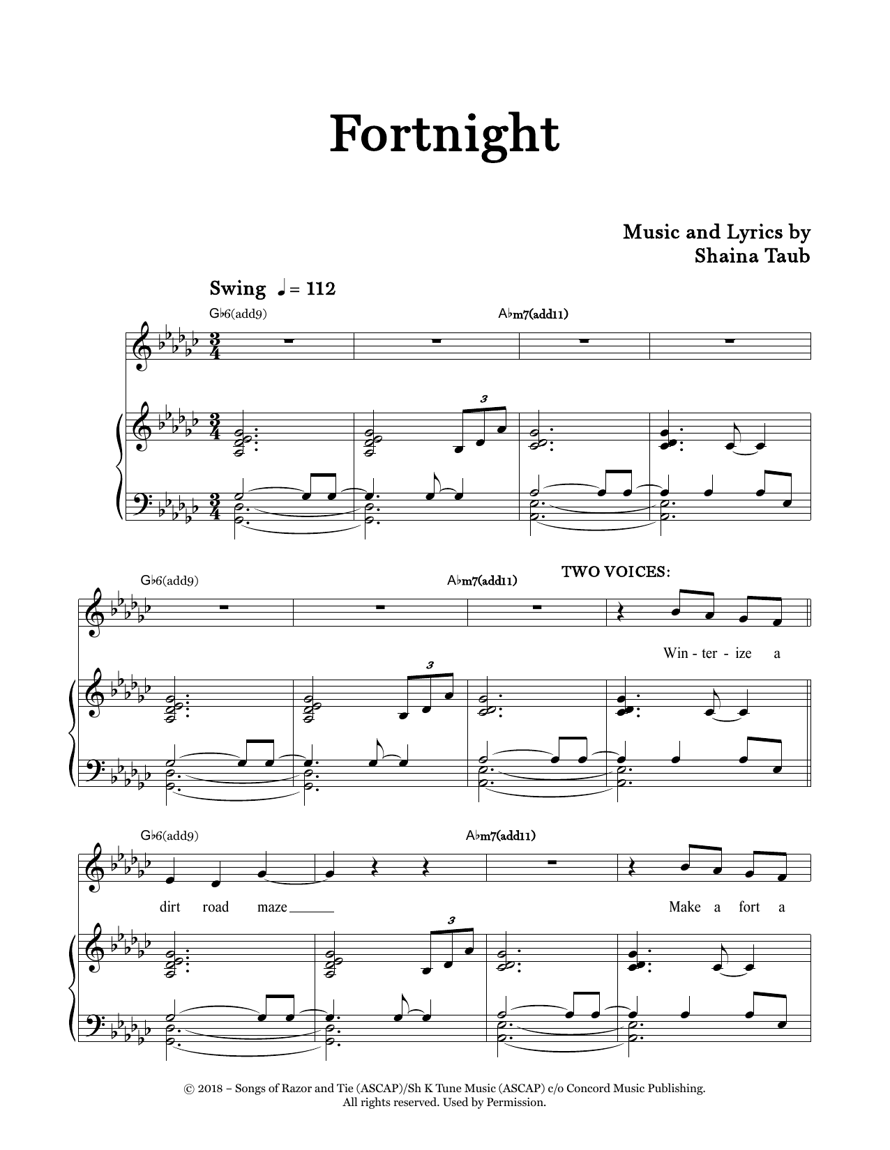 Shaina Taub Fortnight sheet music notes and chords. Download Printable PDF.