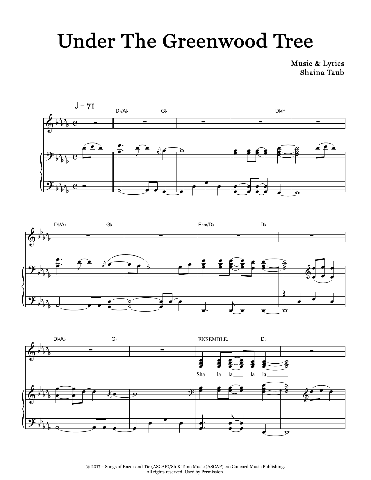 Shaina Taub Under The Greenwood Tree (original key) (from As You Like It) sheet music notes and chords. Download Printable PDF.
