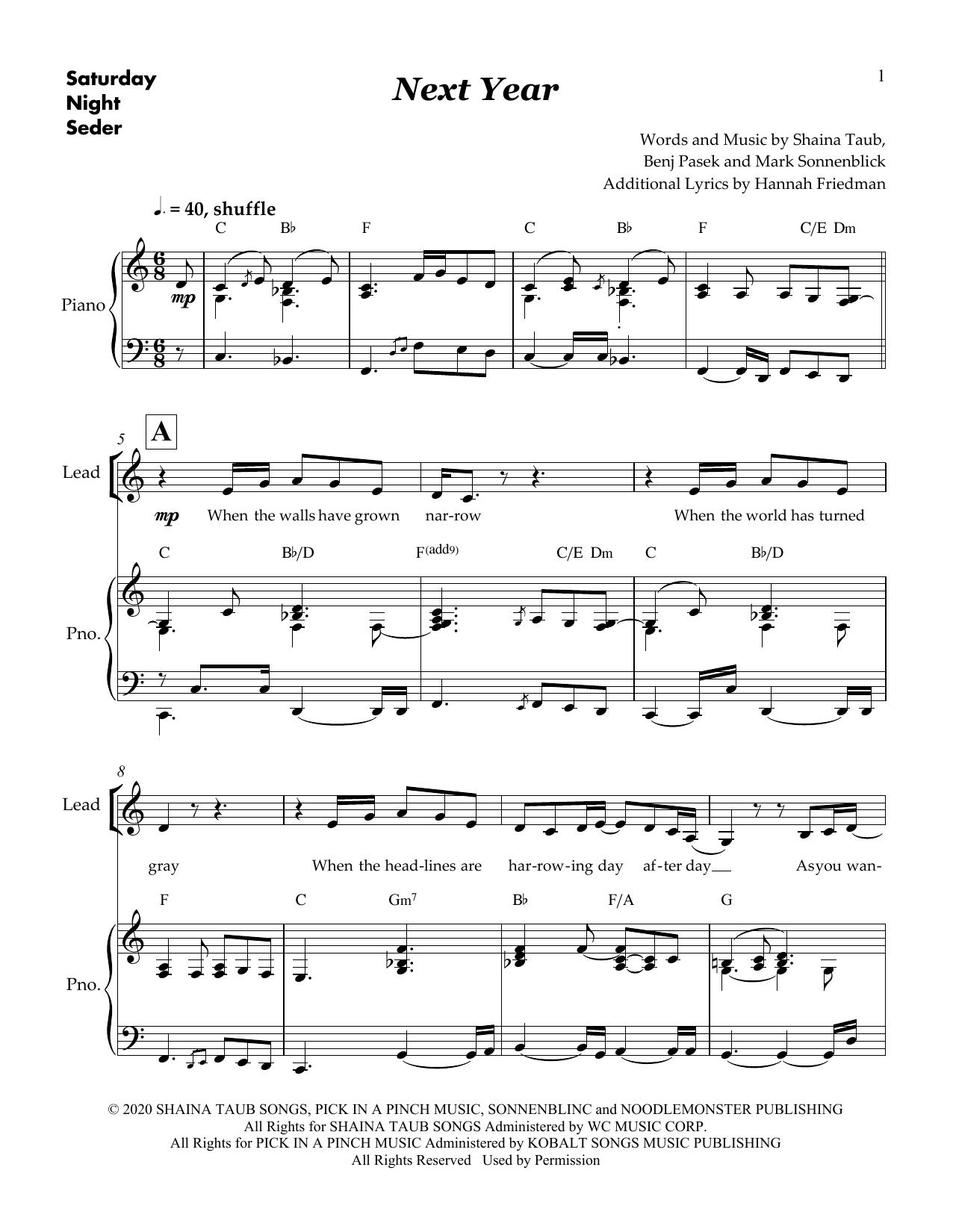 Shaina Taub & Skylar Astin Next Year (from Saturday Night Seder) sheet music notes and chords. Download Printable PDF.