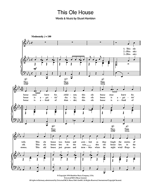 Shakin' Stevens This Ole House sheet music notes and chords. Download Printable PDF.