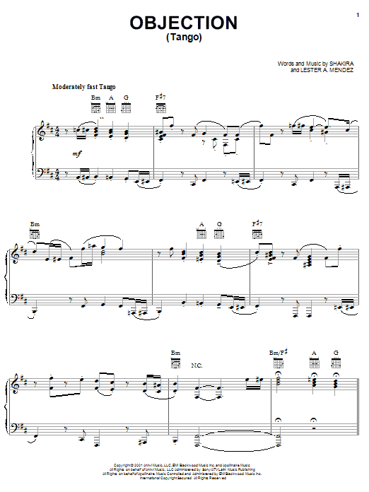 Shakira Objection (Tango) sheet music notes and chords. Download Printable PDF.