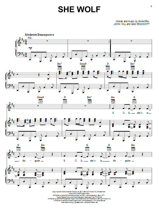 Shakira She Wolf sheet music notes and chords. Download Printable PDF.